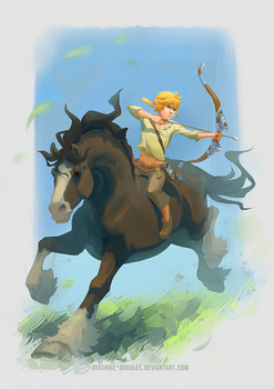 Zelda BotW - Link and Horsy by ayashige-doodles