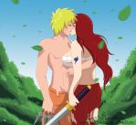 Xover - Naruto and Erza - Battle Kisses by BloodyRiley