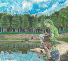 LoZ - Link at the Fishing Pond by whowillstopmenow