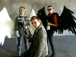 Good Omens and Supernatural cosplay by SavedChicken