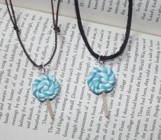 Blue lolly necklaces by MeticulousBlue