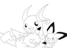 pokemon group lineart 5 by michy123