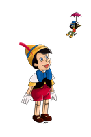 Pinocchio and Jiminy by unashock