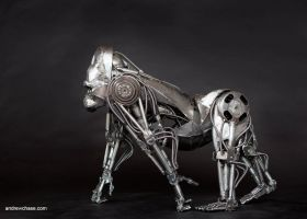 Mechanical metal gorilla - side by Andrew-Chase