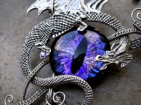Wire Wrap - Dragon with Super Color Shift Eye 2 by LadyPirotessa