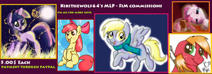 MLP - FiM Commissions 5.00$ each by kikithewolf64