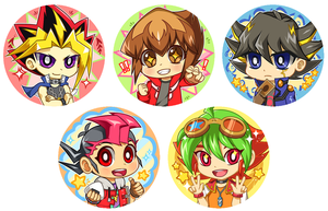 Yu-gi-oh Protagonist Button Designs by Jiayi