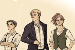 SNK - Levi, Erwin, and Hanji by Frasya
