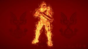Master Chief - Fire Wallpaper by Hamayel-Stellast