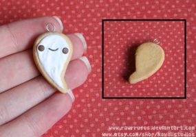 Kawaii Ghost Cookie Clay Charm by RawrRufus