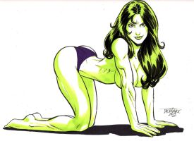 She-Hulk bent over in all her beautiful glory! by GordonWildhurst