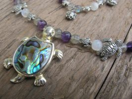 Silver and Shell Turtle Necklace Closeup 1 by Windthin