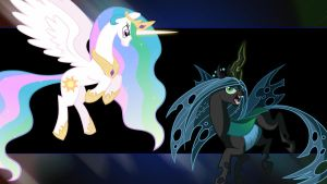 Celestia vs Chrysalis by NomDeCheval