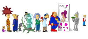 Futurama+simpsons-kiss by padrino666