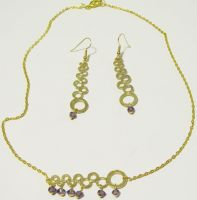 gold crop circle with purple crystals jewelry set by AnaInTheStars