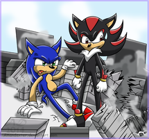 Giant Sonic and Shadow -G- by Amandaxter