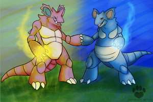 pokeddex day4 Nidoking Nidoqueen by ShadowKira555