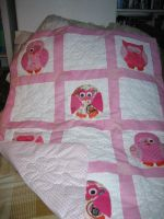 Pink Baby patchwork quilt with Owls by TerraRavenBearheart