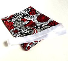 Red, Black and White Flowers Crochet Hook Holder by StarbeamerPatterns