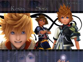 kingdom hearts sora roxas  and ventus by LumenArtist