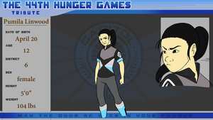 44th Hunger Games Reference Sheet - Pumila Linwood by Mauveine-Owl