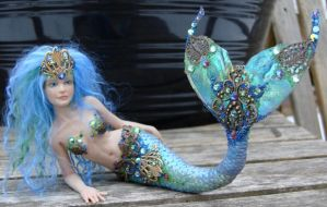 Blue 'Fabrege' Mermaid by elvenelysium