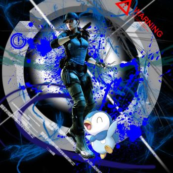 Jill Valentine and Piplup by PiplupSTARSCommander