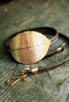 Bronze Leaf Bracelet Leather Wrap by SilkstoneDesigns