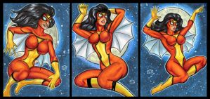SPIDER WOMAN PERSONAL SKETCH CARDS by AHochrein2010