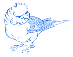 Crested Budgie Doodle by OnyxSerpent
