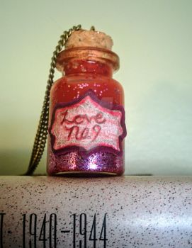 Tiny Bottle Necklace Love Potion No. 9 by PirateLizzie