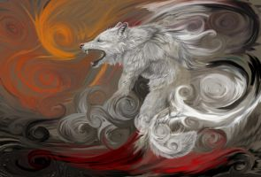 Fire Breath of a White Wolf by asemo