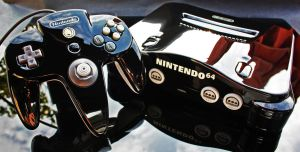 custom piano black shaved Nintendo 64 by Zoki64