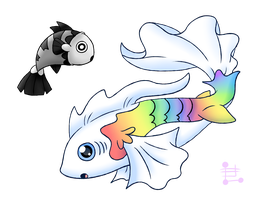 Fakemon: Shirokuro and Nijikana by Spice5400