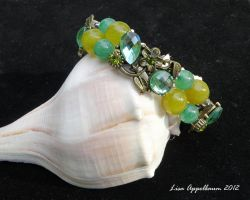 Green and Yellow Flower Bracelet by Cillana