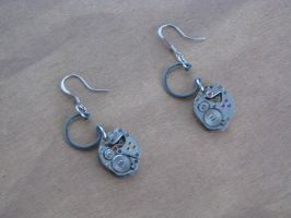 Steampunk Earrings with Vintage Watch Movements an by bcainspirations