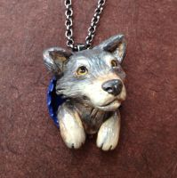 Grey Wolf Pop-Out Necklace by LeiliaClay