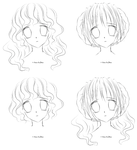 Girl LineArt 4 faces by FoxFireRed