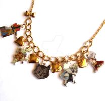 Wonderland Charm Necklace Gold by FatallyFeminine