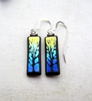 Sunset Tree of Life Fused Glass Earrings by FusedElegance