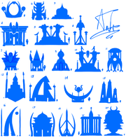 High-Fantasy Egyptian Style Building Thumbnails by SassyRaptor