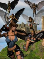 LARA VS THE ANGELS by lordcoyote