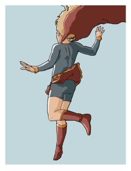 Supergirl, in for a landing by Allam