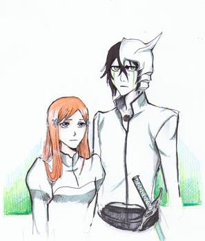 Ulquiorra and Orihime {Gift} by nightwish77