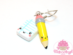 Kawaii Pencil and Paper Earrings by Metterschlingel