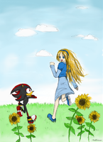 Shadow and Maria on a meadow by RedRowan