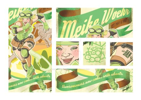 Vintage Roller Derby poster illustration detail by UMINluvILLUSTRATION