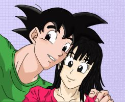 Goku and Chichi are taking a selfie ^^ by eleneli