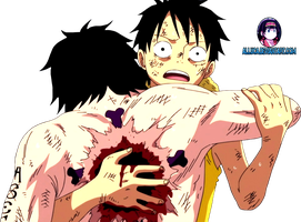Ace and Luffy render by Alluca