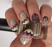 Ice Cream on waffles.. with sprinkles manicure! by Ithfifi